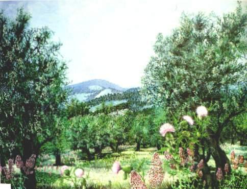Arbres et fleurs Huile sur toile (1974)